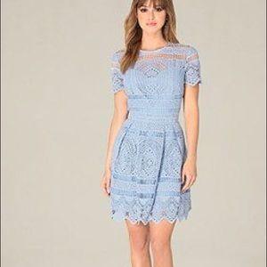 Bebe Women's Blue Gibson Crochet Dress